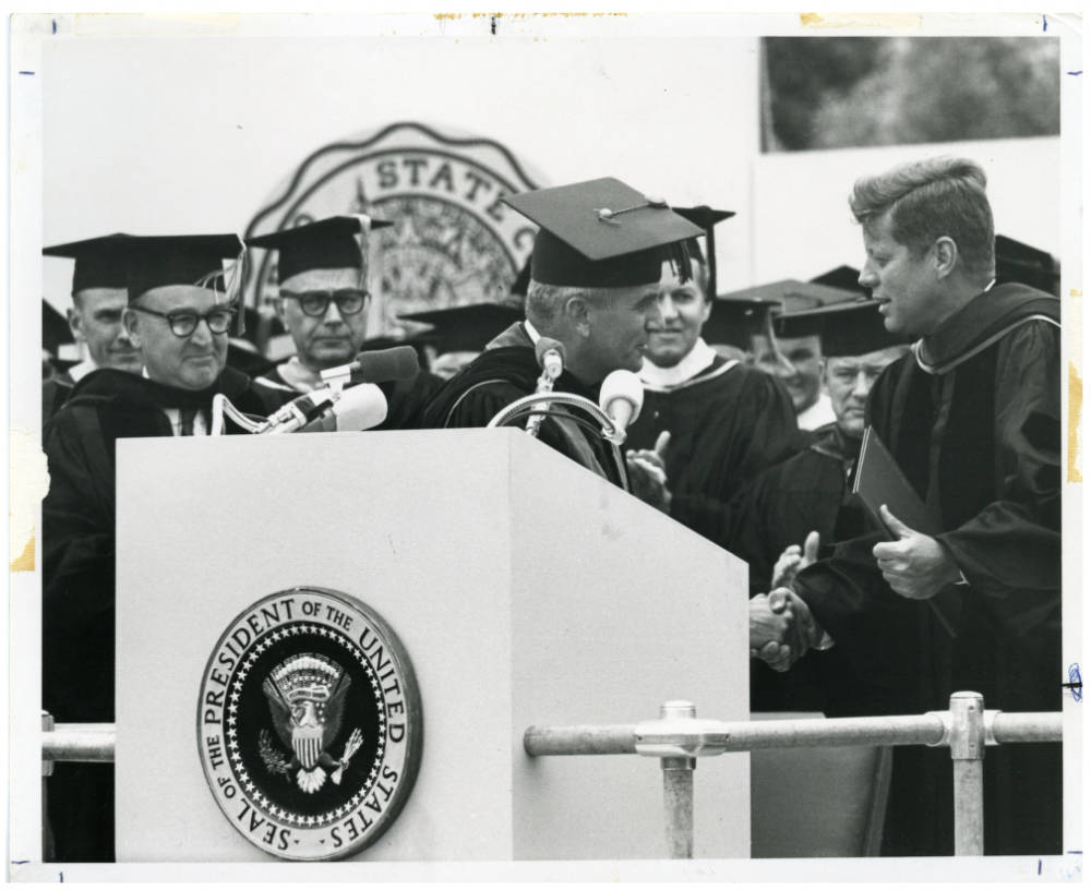 Chancellor Dumke and President Kennedy, SDSU 1963