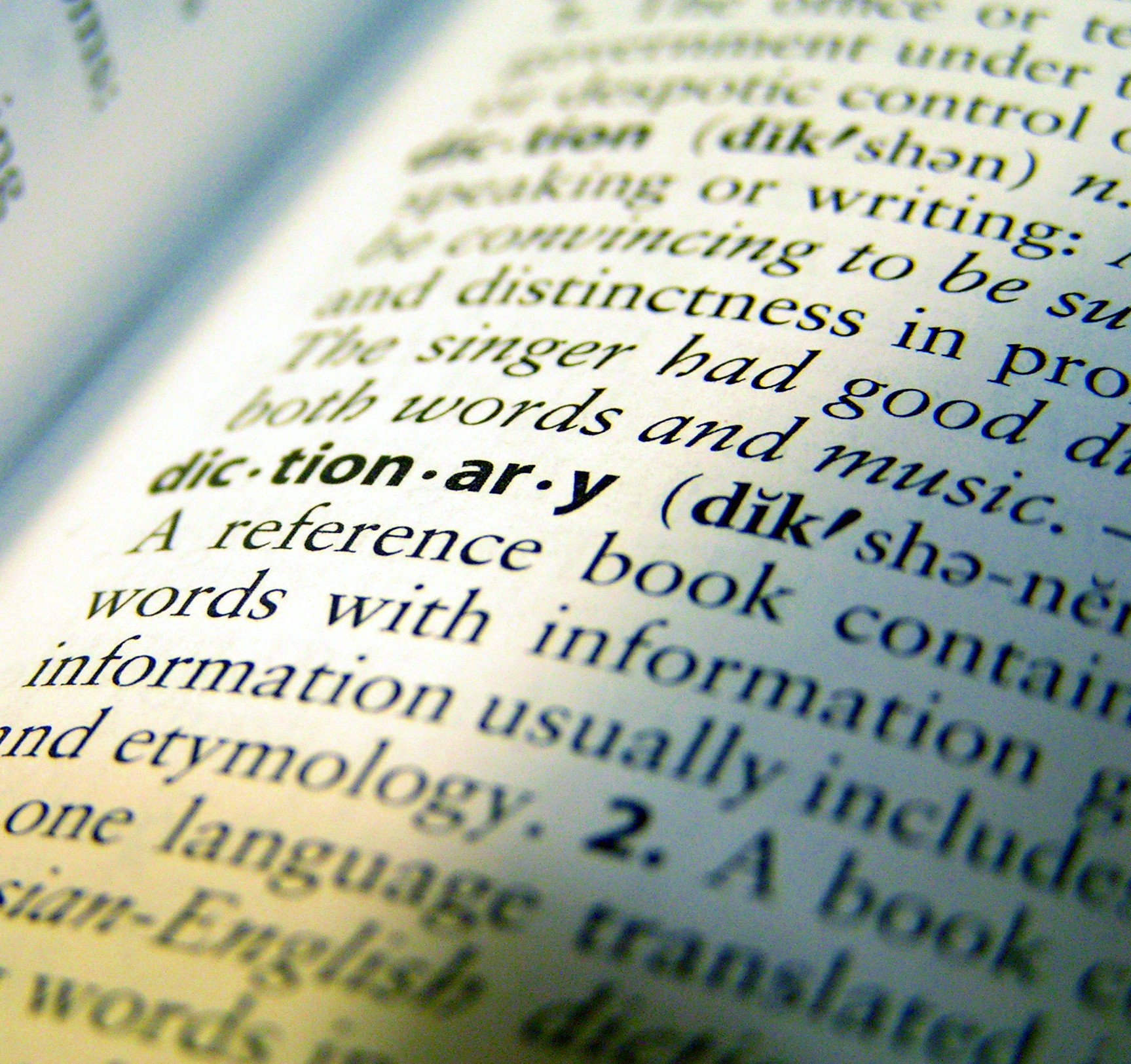 Picture of part of a page from a dictionary.