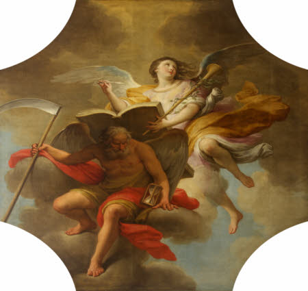 Painting of History, represented as a young, female angel, holding a trumpet and writing in a large book. The book is resting on the back of Time, represented as an older, male angel holding a scythe in one hand and an hourglass in the other. Time is sitting on a cloud, and History is hovering in the air behind him.