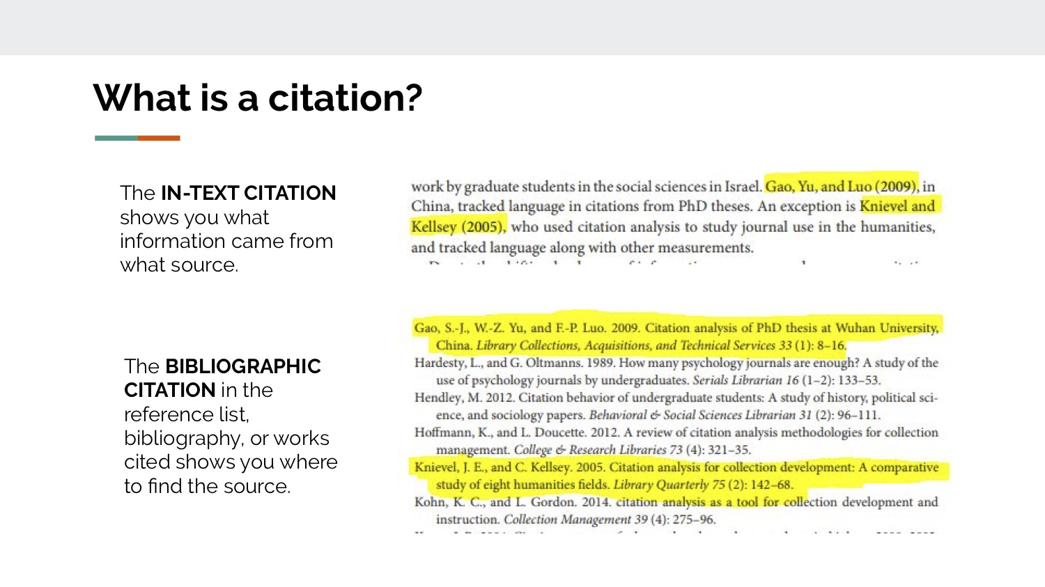 A citation is made up of two parts: 1) an in-text citation that indicates which words and ideas you borrowed from another source, and 2) a bibliographic citation that gives your reader all the information they need to find that source.