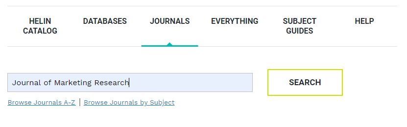 Screenshot of the library's homepage indicating that you navigate to the journals tab and enter the title of the journal in which your article was published.