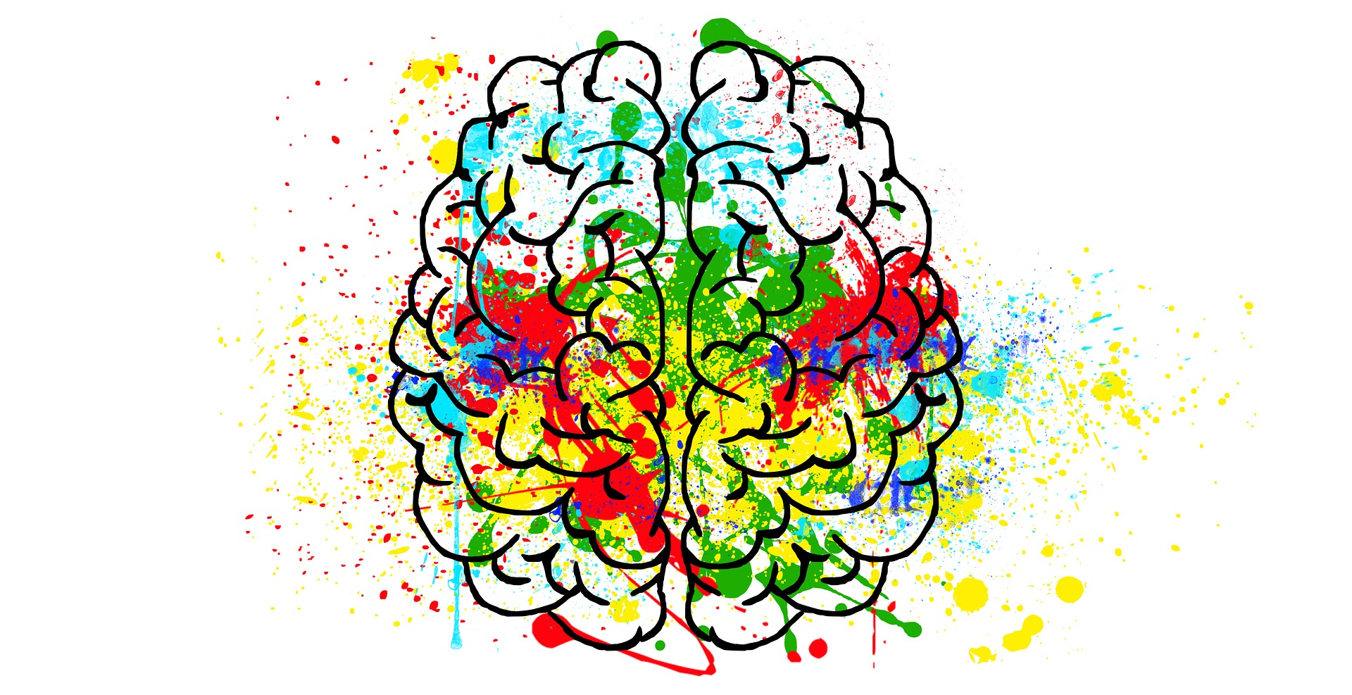 Black outline drawing of a human brain from the top with paint-like splatters of color on it.