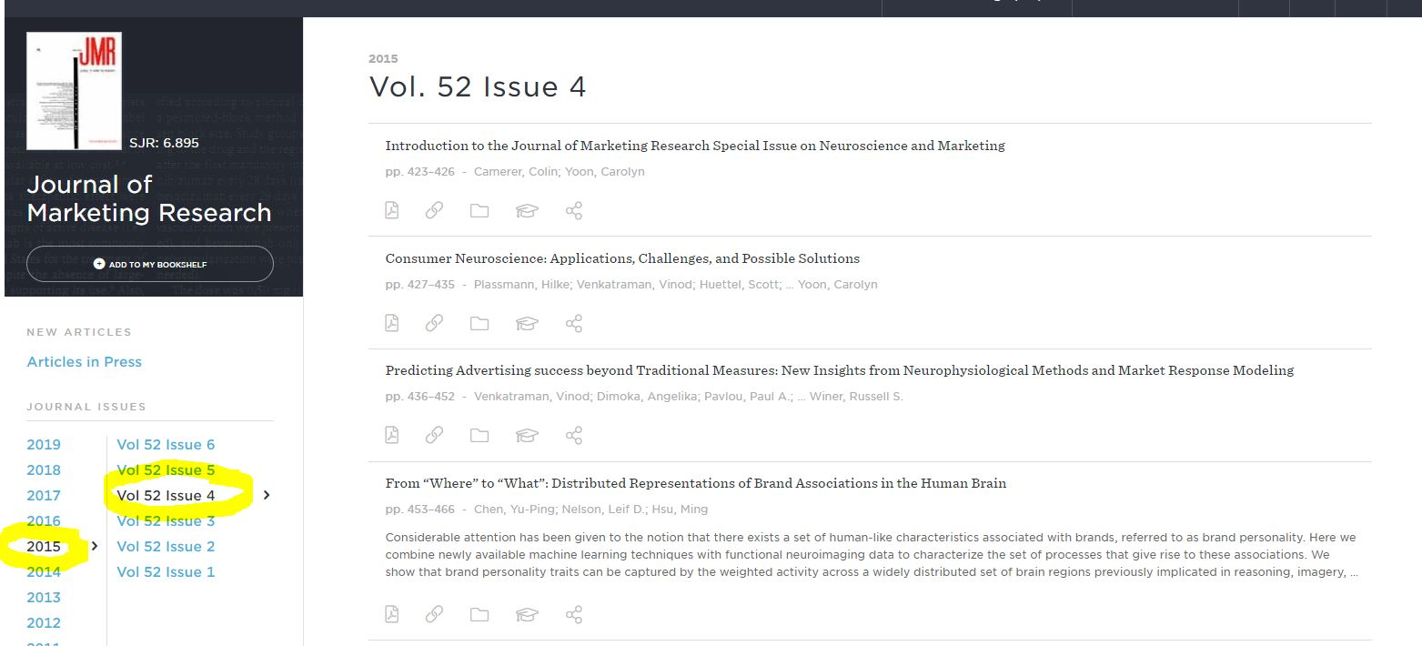 Screenshot of the journal page with the year, volume, and issue highlighted to demonstrate how to narrow down your results to the article you seek.