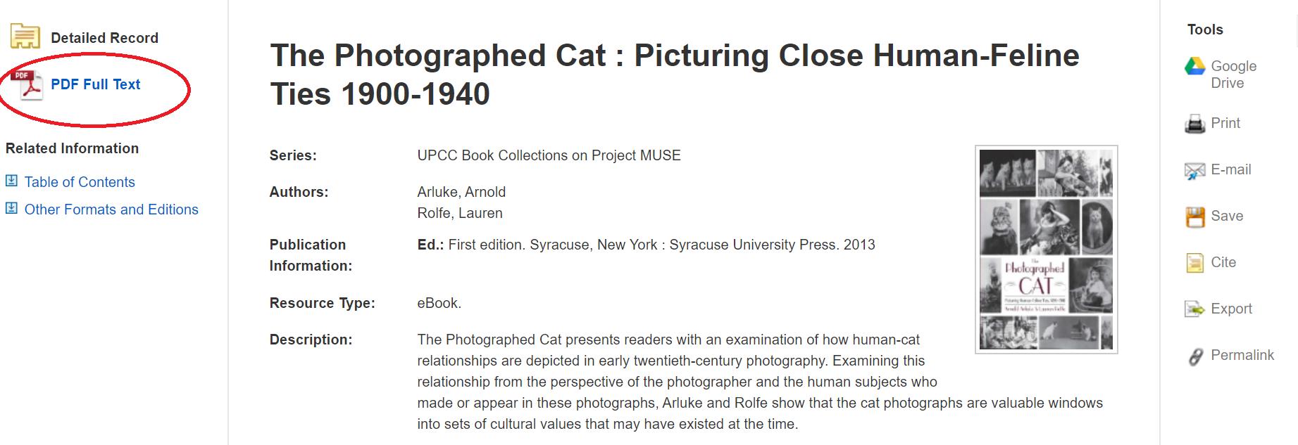 Screenshot of eBook record.