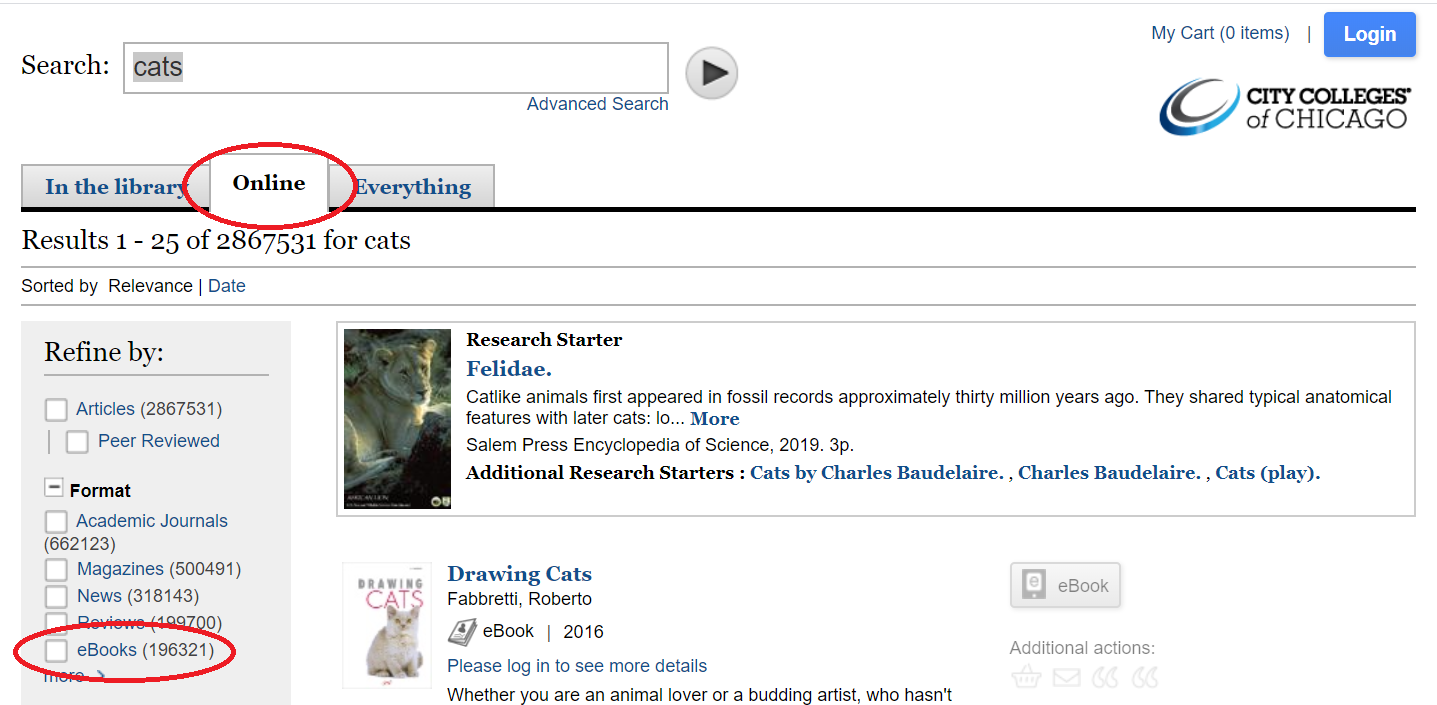 Screenshot of library catalog search results.