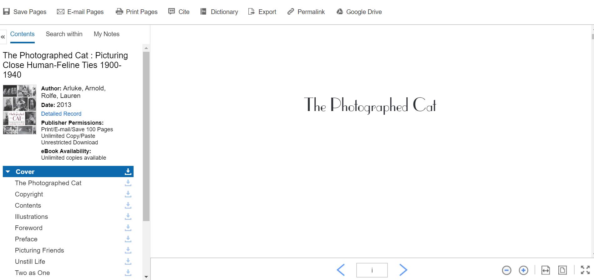 Screenshot of eBook viewer.