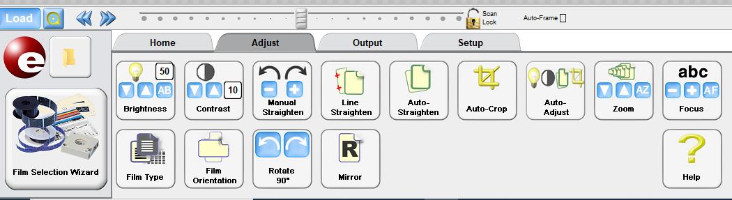 Screenshot of ScanPro2000 Adjust menu