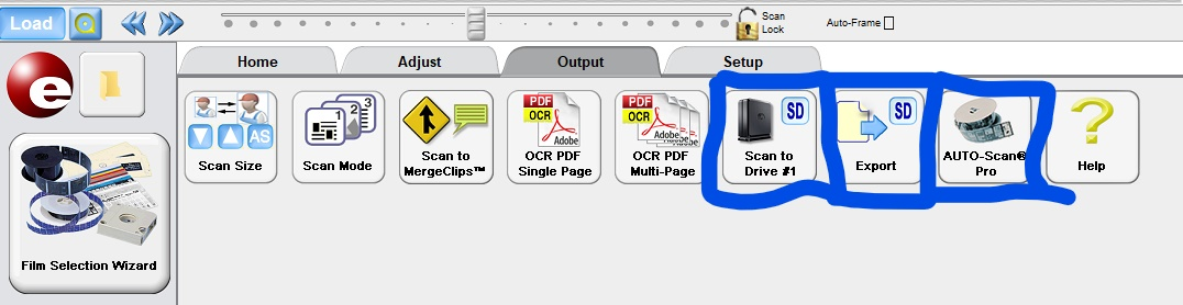 """Screenshot of Output menu, with features """"Scan to Drive #1,"""" """"Export,"""" and """"AUTO-Scan Pro"""" highlighted"""