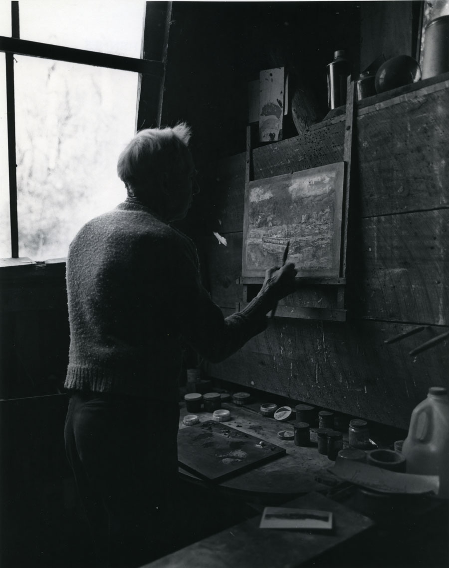 Harlan Hubbard painting in his studio, photo by Tomas Hennes