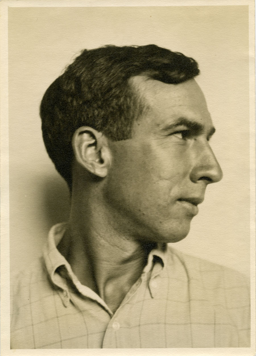Portrait of Harlan Hubbard, in profile
