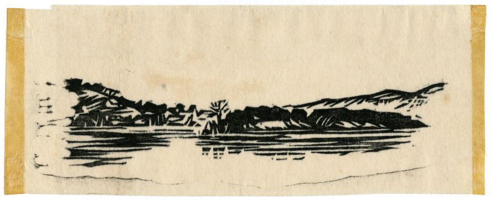 An example of Harlan Hubbard's artwork; etching of river bank scene