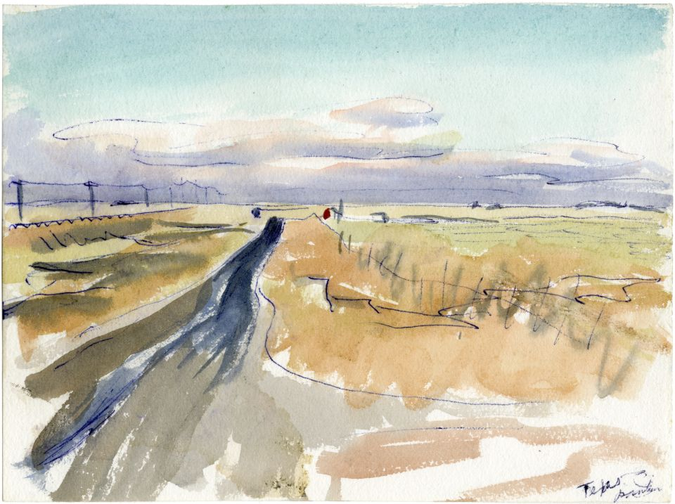 An example of Harlan Hubbard's artwork, watercolor of road leading to the horizon