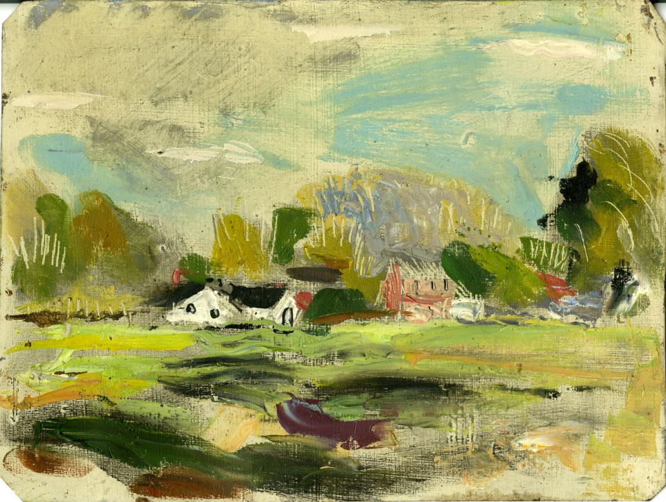 An example of Harlan Hubbard's artwork; landscape with buildings, watercolor
