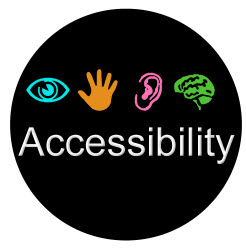 "Image of a circle with the word ""accessibility"" and images of an eye, hand, ear, and brain"