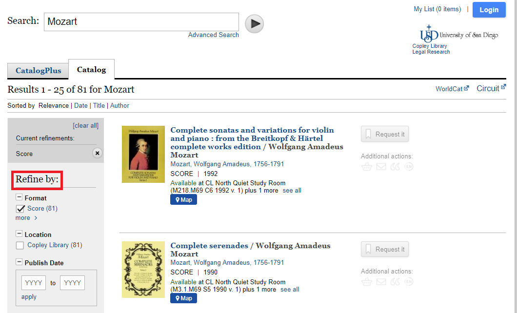 Catalog search results for Mozart Refined by Format = Score