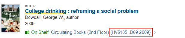 a library catalog listing for a book on college drinking