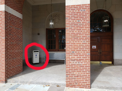 picture of library return bin outside of Kellenberg Hall