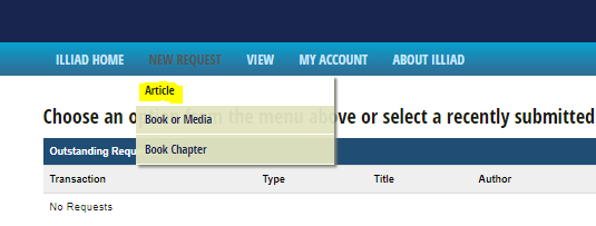 Screen shot of the New Request menu in ILLiad, which the Article request option highlighted.