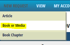 Screenshot of the menu option to select for the Book or Media request form
