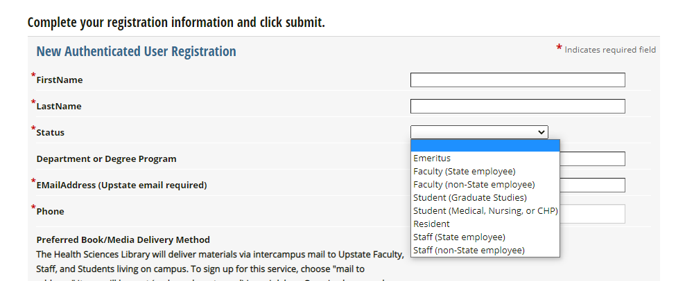 Screenshot of a zoomed in view of the choices for the Status field on the registration form. The entries for Graduate Students and Non-Graduate Students are circled in red,