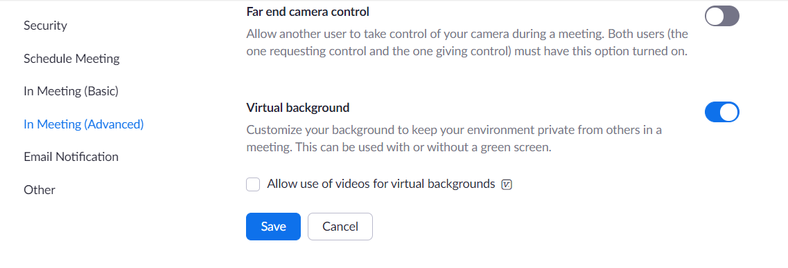 """Make sure your virtual background in the """"In Meeting (Advanced)"""" Zoom settings is turned on."""