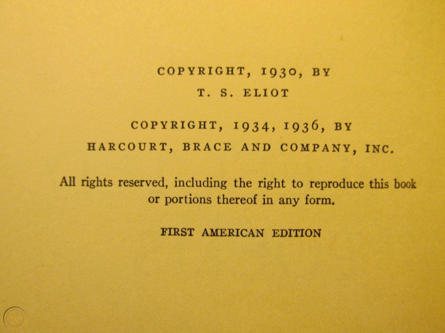 Image of TS Eliot copyright page