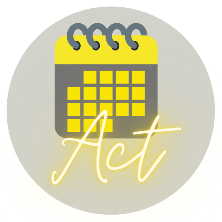 "Logo from the Common Reading Program's 2020 theme that says ""Act"""