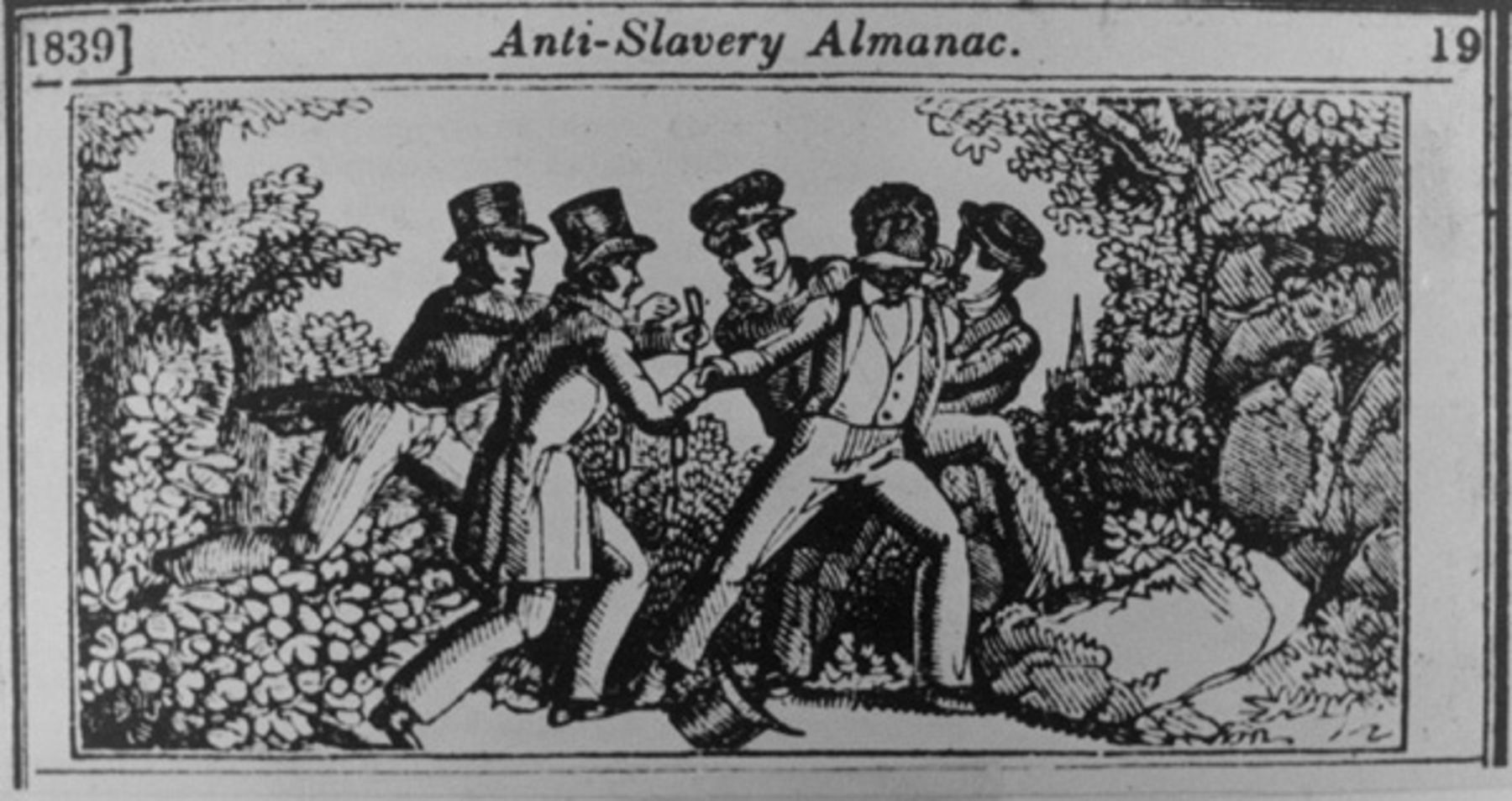 An 1839 woodcut depicts a slave patrol capturing a fugitive. Source: Anti-Slavery Almanac/Public domain