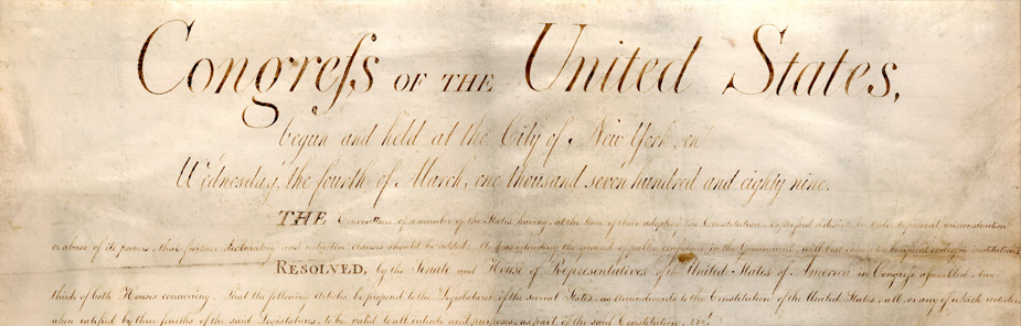Photograph of the Heading of the Bill of Rights