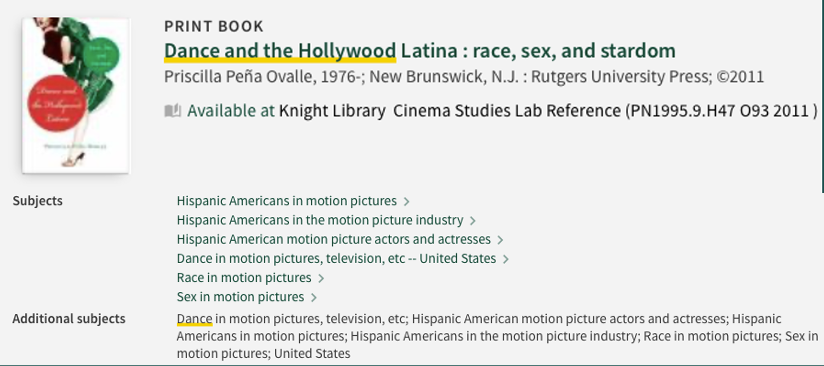 """Catalog record for book """"Dance and the Hollywood Latina: race, sex, and stardom"""" with Subject headings"""