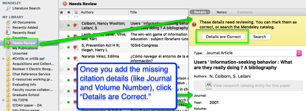 Screen shot of Mendeley's Needs Review folder showing alert in Details panel
