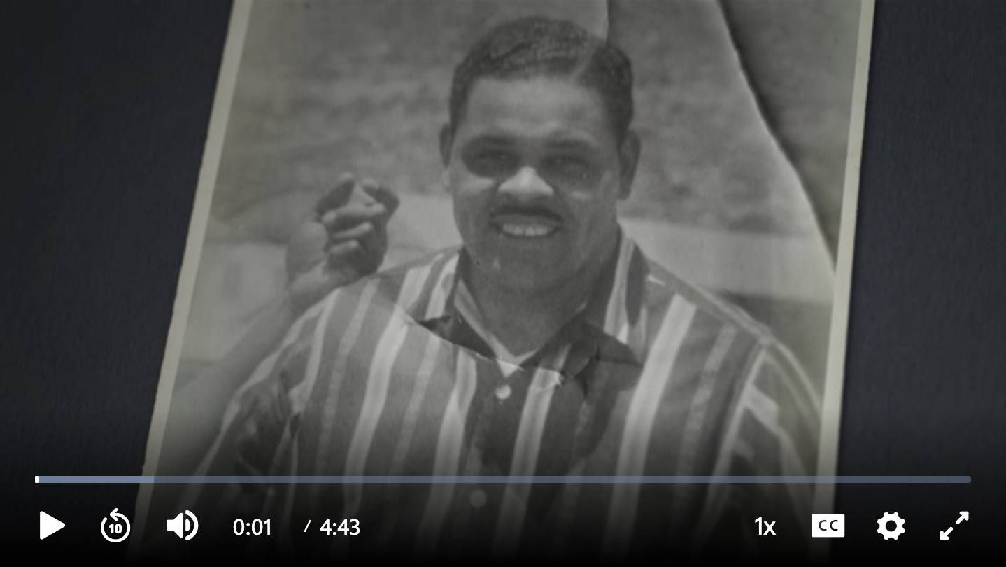 Screen capture of a 4:43 video about Joe Madison's grandfather; click this image to follow the link to the video
