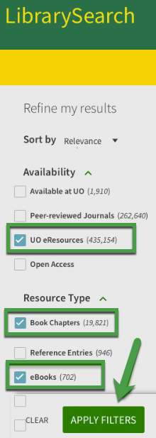 "A screenshot of LibrarySearch showing ""UO eResources"" selected in the Availability menu and ""Book Chapters"" and ""eBooks"" selected from the Resource Type menu."