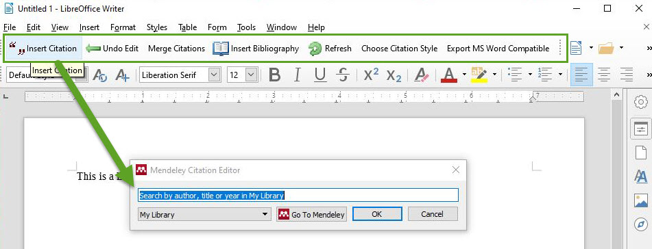 "Screenshot of LibreOffice showing location of Mendeley toolbar with ""Insert Citation"" dialog box open"