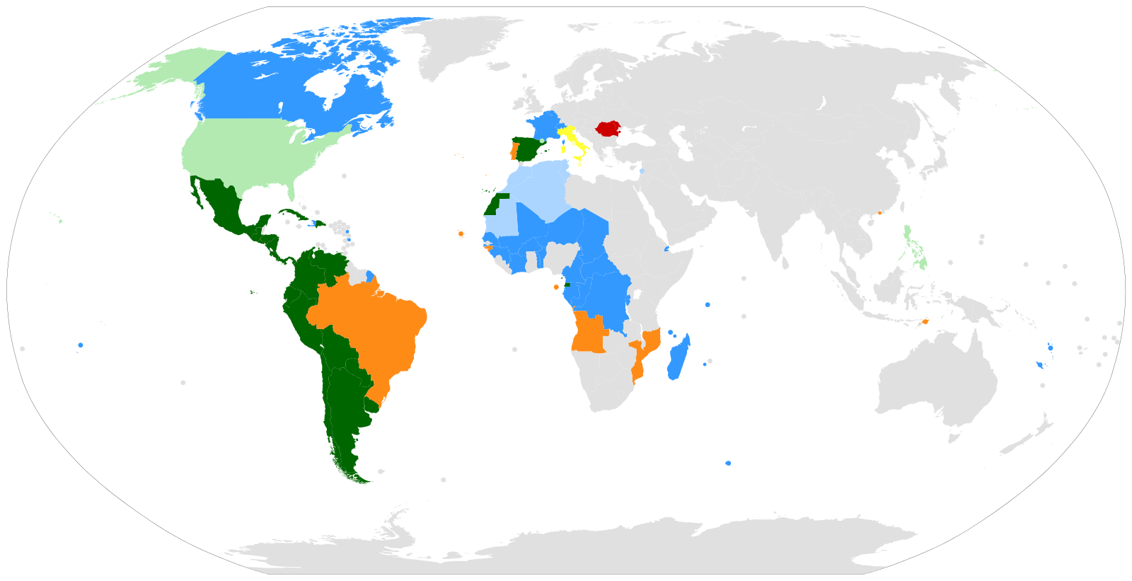 A map showing the countries where Romance languages have official status (darker colours), or are commonly spoken by people (lighter colours). Blue (French); green (Spanish); orange (Portuguese); red (Romanian); yellow (Italian).