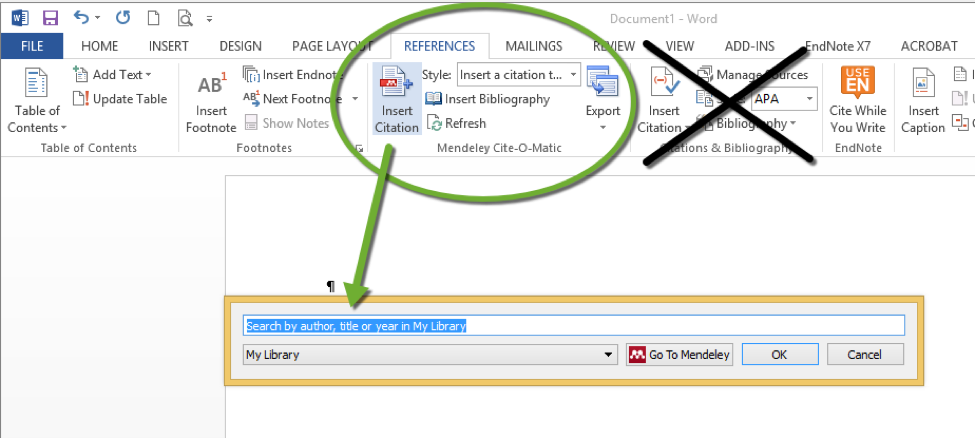 Screen shot of Mendeley plug in in MS Word References ribbon