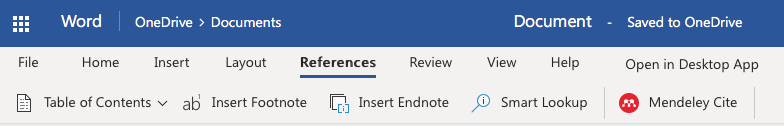 Mendeley Cite in References Tab in Word in Office Online Office 365
