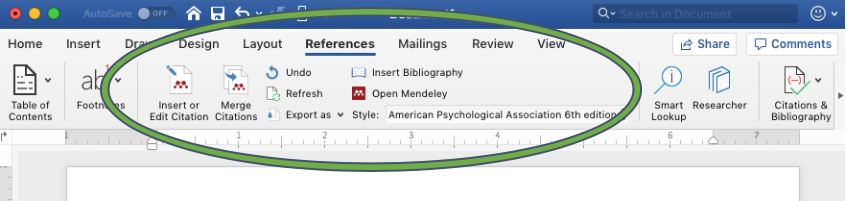 Screenshot of Mendeley Word Plugin in the MS Word ribbon under the References tab