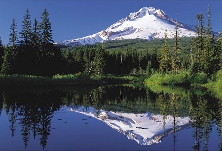 Mt Hood reflected in Mirror Lake, Oregon.