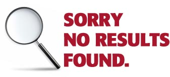 "Image of magnifying glass (search icon) and text ""sorry, no results found."""