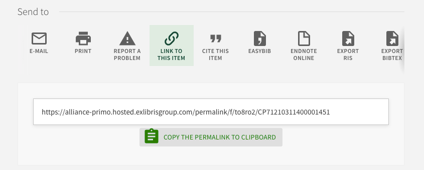 Link to this Item in Library Search with Permalink option