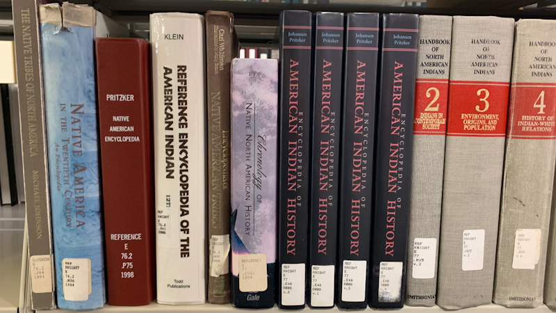 Photograph of Native American encyclopedias and other reference works