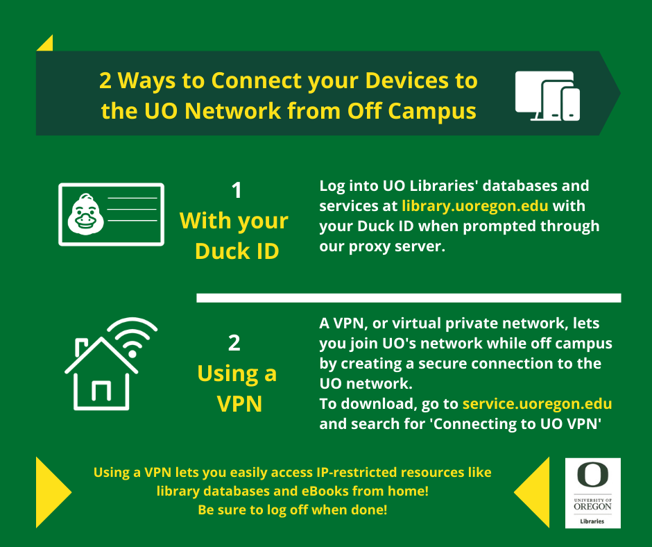 "Infographic on ""2 Ways to Connect your Devices to the UO Network from Off Campus""; follow the link below for the web accessible version"