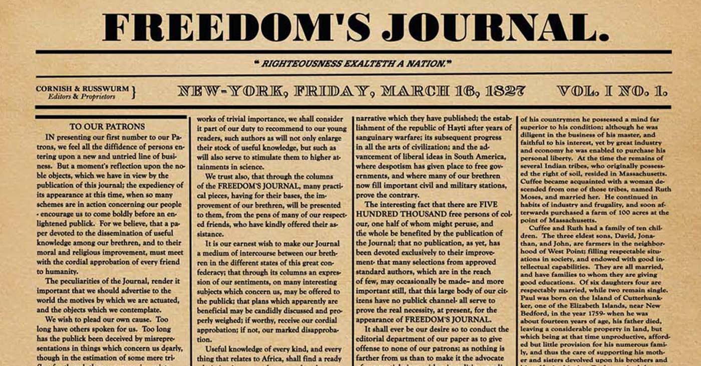 Freedom's Journal newspaper cover from first issue