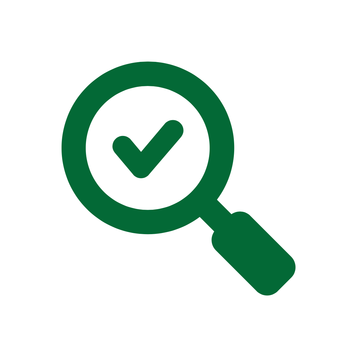 Green magnifying glass icon with checkmark inside from Noun Project