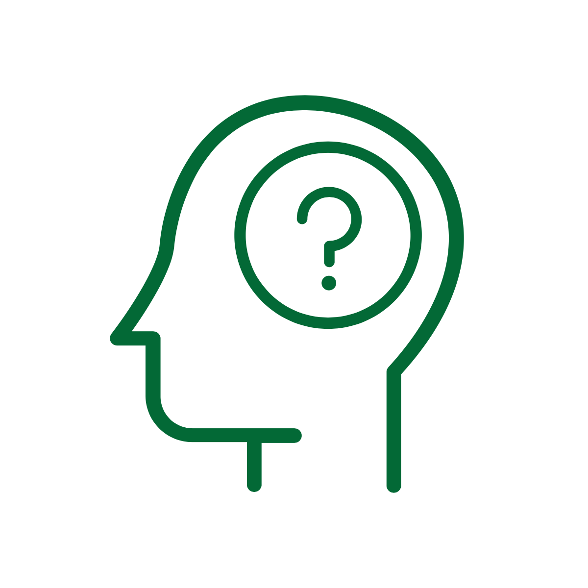 outline of a person's profile with a question mark placed inside where their brain would be