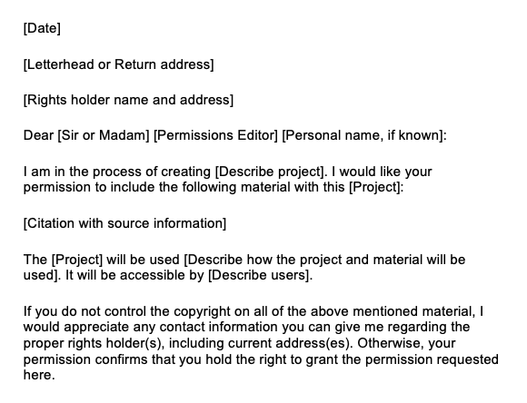 Sample Copyright Permissions letter