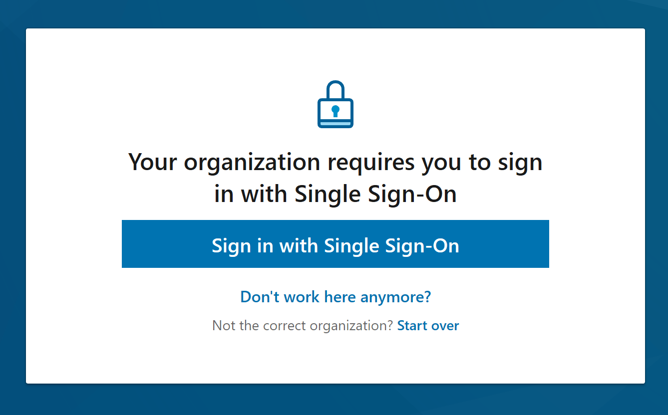 screen shot of single sign-on prompt