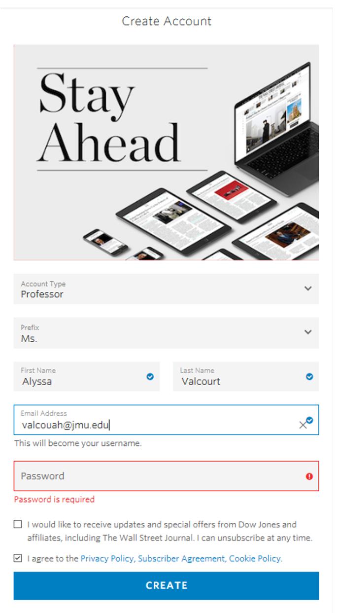 screenshot image of the registration screen for demonstration