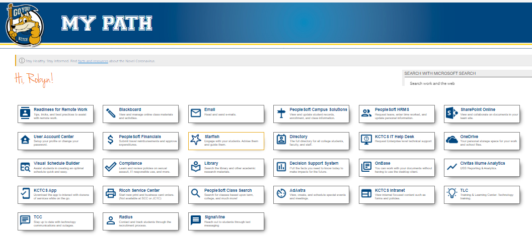 [an image of the MyPath website with blue buttons which reveal different functions for students]